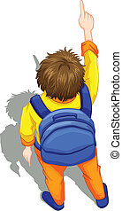 A topview of a boy with a blue backpack