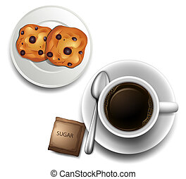 A topview of a cup of coffee and a plate of cookies