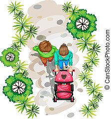 A topview of a family strolling at the park