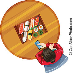 A topview of a girl at the table with sushi