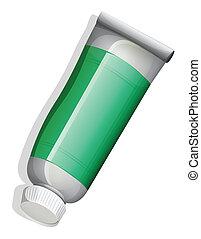 A topview of a green medicinal tube