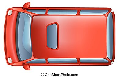 A topview of a minivan on a white background