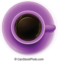 A topview of a purple cup with coffee