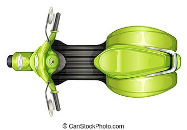 A topview of a scooter - A topview of a green scooter on a ...