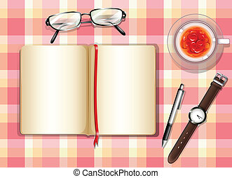 A topview of a table with different objects