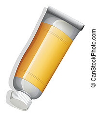 A topview of an orange medicinal tube
