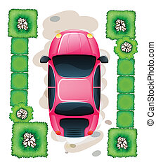 A topview of the parked pink car