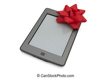 touch e-reader - A touch e-reader with a red bow isolated on...