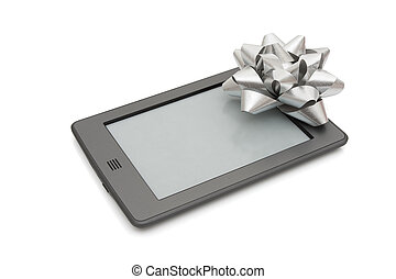 touch e-reader - A touch e-reader with a silver bow isolated...