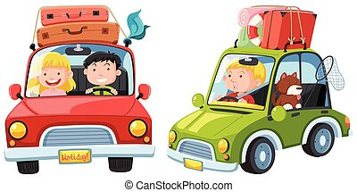A Tourist Driving on White Background