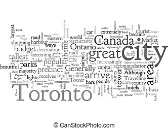 A Tourist Guide To Toronto text background wordcloud concept