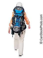 A tourist is walking, with a heavy big backpack, a back view on a white background