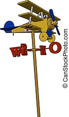 A toy aircraft mounted on wind vane vector or color...