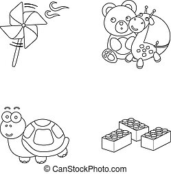 A toy propeller, a teddy bear with a giraffe and a colorful ball, a toy turtle, a lego, a designer for children. Toys set collection icons in outline style vector symbol stock illustration web.