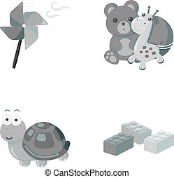 A toy propeller, a teddy bear with a giraffe and a colorful ball, a toy turtle, a lego, a designer for children. Toys set collection icons in monochrome style vector symbol stock illustration web.