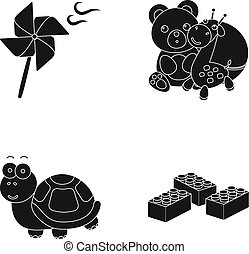 A toy propeller, a teddy bear with a giraffe and a colorful ball, a toy turtle, a lego, a designer for children. Toys set collection icons in black style vector symbol stock illustration web.