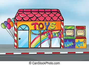 A toy shop - Illustration of a toy shop near a street