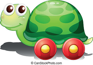 A toy turtle with wheels