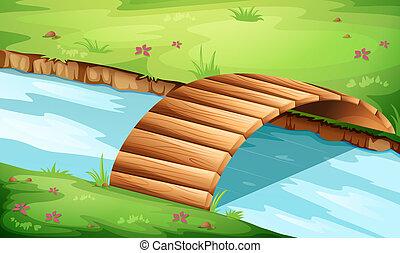 a, trä bro, hos, den, flod