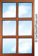 a, trä, fönster, med, glasspanes