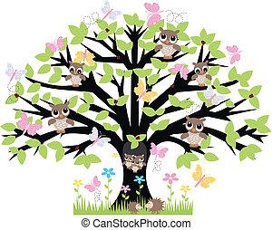 a, träd, med, lott, av, djuren
