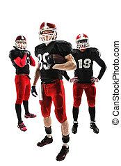 a, três, futebol americano, jogadores, posar, com, bola,...