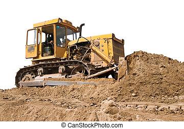 A tracks-dozer (bulldozer) at an open-pit copper mine