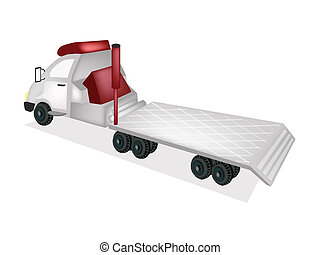 A Flatbed Truck, Tractor Trailer or Flatbed Articulated Lorry for Trucking Construction Machinery and Material Isolated on A White Background.