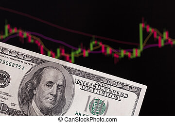A trader trades stocks, bonds and securities or currencies on the Forex market or stock exchange for us dollars. dollars in front of a laptop monitor with a price chart. Forex and trading
