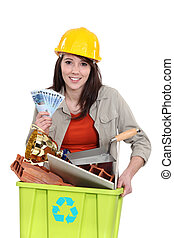 A tradeswoman holding a recycling bin and a wad of cash