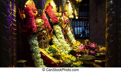 A traditional Indian floral arrangement - A hand held shot...