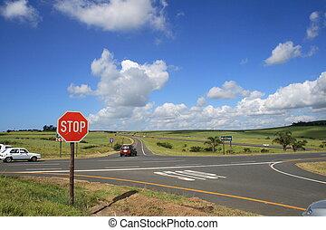 traffic intersection - a traffic intersection on highway
