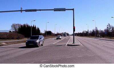 A traffic light on the street