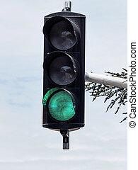 traffic light with green light