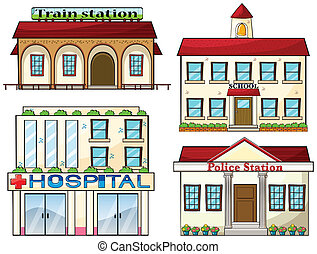 A train station, a school, a police station and a hospital