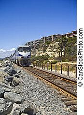 Train travels through San Clemente