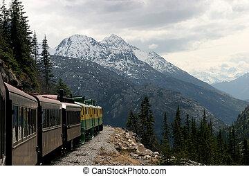 Canadian Yukon - A train travels through the Canadian Yukon.