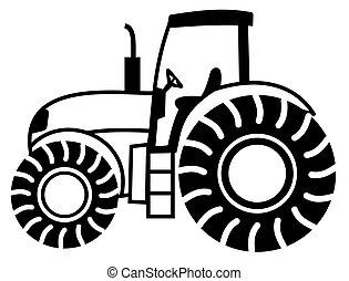 a, traktor, skugga