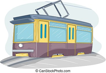 A Tram Illustration - Illustration of a Tram on the Tramway