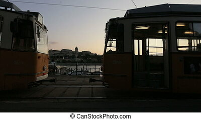 a tram stop in the evening