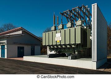 a, transformator, station, vorräte, ein, städtisch, bezirk,...