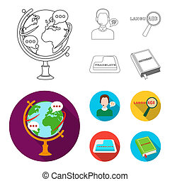 A translator in headphones, a magnifying glass showing translation, a button with an inscription, a book with a bookmark. Interpreter and translator set collection icons in outline, flat style symbol stock illustration web.