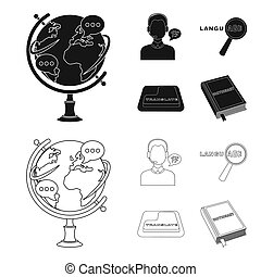 A translator in headphones, a magnifying glass showing translation, a button with an inscription, a book with a bookmark. Interpreter and translator set collection icons in black, outline style bitmap symbol stock illustration web.