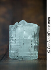 A transparent glass with ice