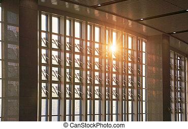 a través de ventana, brillado, sol