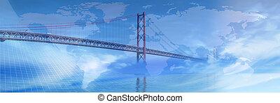 a través de, world..., puente