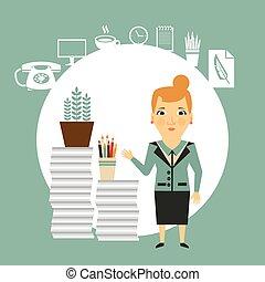 a, travail, lot, illustration, secrétaire