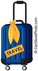 A Travel Luggage on White Background