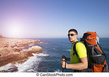 A traveler on the a mountain