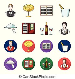 A tray with a cloth, check and cash, a bottle of wine and glasses, a waitress with a badge. Restaurant set collection icons in cartoon,flat style vector symbol stock illustration web.